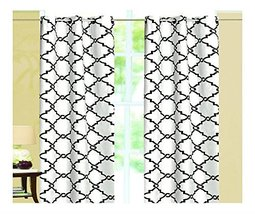 White- Black Geometric 100% Thermal Blackout Grommet Window Curtain Pane... - $19.41