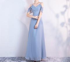 DUSTY BLUE Bridesmaid Dress 2019 Summer Chiffon Dusty Blue Bridesmaid Maxi Dress image 7