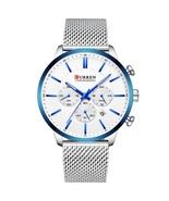 Curren Men's Steel Mesh Quartz Chronograph Wrist Watch 8340 (Silver & Blue) - $37.00