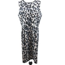 Ann Taylor Loft women's blue leopard print trim sleeveless shift dress s... - $23.13