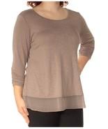 Style & Co Womens NEW Chiffon-Hem Three-Quarter-Sleeve Bastille Grey SZ ... - $14.84