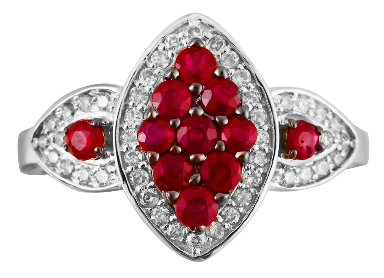 Solid 14K White Gold Ruby Red Colored Diamond Fashion Cocktail Unique Fine Ring image 2