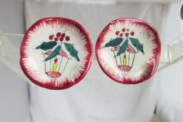 Ceramic Christmas Handpaint Earrings Clips Lantern Holly Berries JAPAN V... - $14.39