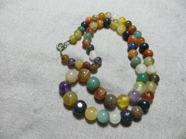 Vnt. Middle Century 50-60's Multi Color Graduated Gem Stones Beads Neckl... - $24.99