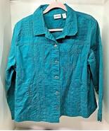 Chico's SZ 3 Teal Green 100% Cotton Jacket w Sewn Designs Denim Style FUN! - $34.65