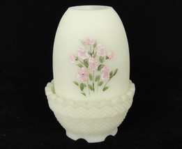 Fenton Custard Satin Glass Fairy Lamp Pink Glitter Flowers on Yellow Signed - $39.59