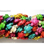 Mix Color Howlite Turquoise Carved Turtle Spacer Beads 14.5mm x 18mm 16'... - $2.24