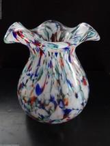 Rainbow Confetti Speckled Spattered Italian Art Glass Vase Ruffled Top E... - $46.50