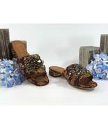 Tory Burch Martine Burgundy Gold Floral Jacquard Jeweled Flats Slides Sz... - $232.16