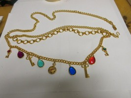 """Costume Jewelry ,Vintage ,Charm Bracelet BELT , 32"""" Long , Unique Colors... - $75.00"""