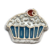 Blue Cupcake Charm for Floating Locket (LCHM-167) - $0.99