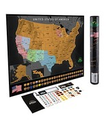 Scratch Off USA Map Poster - Travel Map with State Flags and Landmarks -... - $28.36