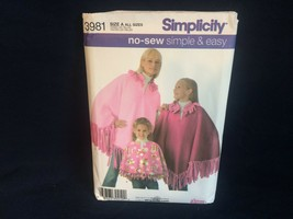 Simplicity Child Girl Misses No-Sew Fleece Poncho Sewing Pattern 3981 OOP - $3.91