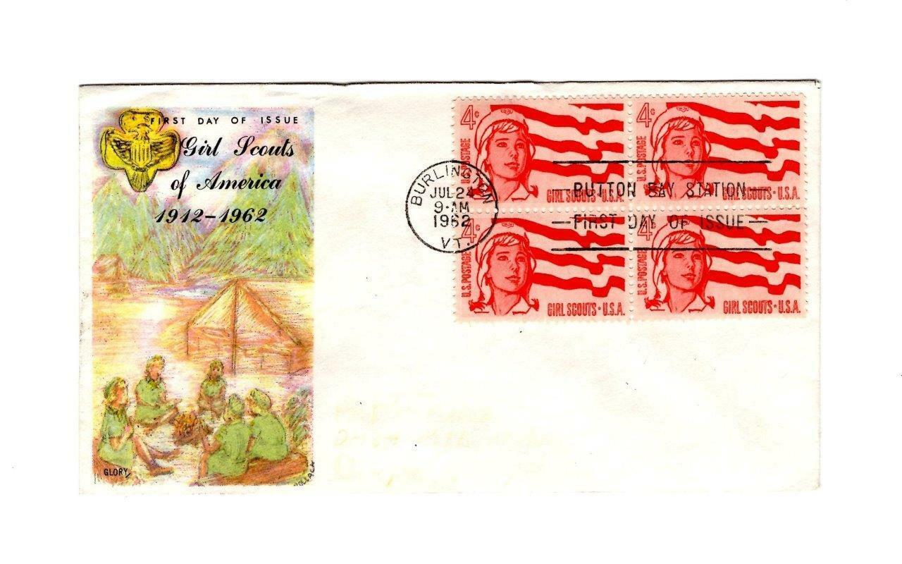 FDC ENVELOPE- GIRL SCOUTS OF AMERICA- BL4 -1962 GLORY CACHET  BK12