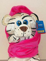 Six Flags Baby White Tiger Plush in Pink Blanket Stuffed Animal with Han... - $10.88