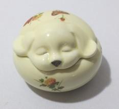 Vtg Dog puppy w/ Flowers & Butterfly Trinket Box Jewelry Holder Takahash... - $20.00