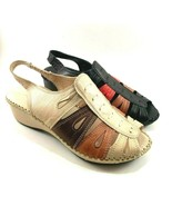Bonavi Reina Leather Low Wedge Slingback Open Toe Sandals Choose Sz/Color - $116.10