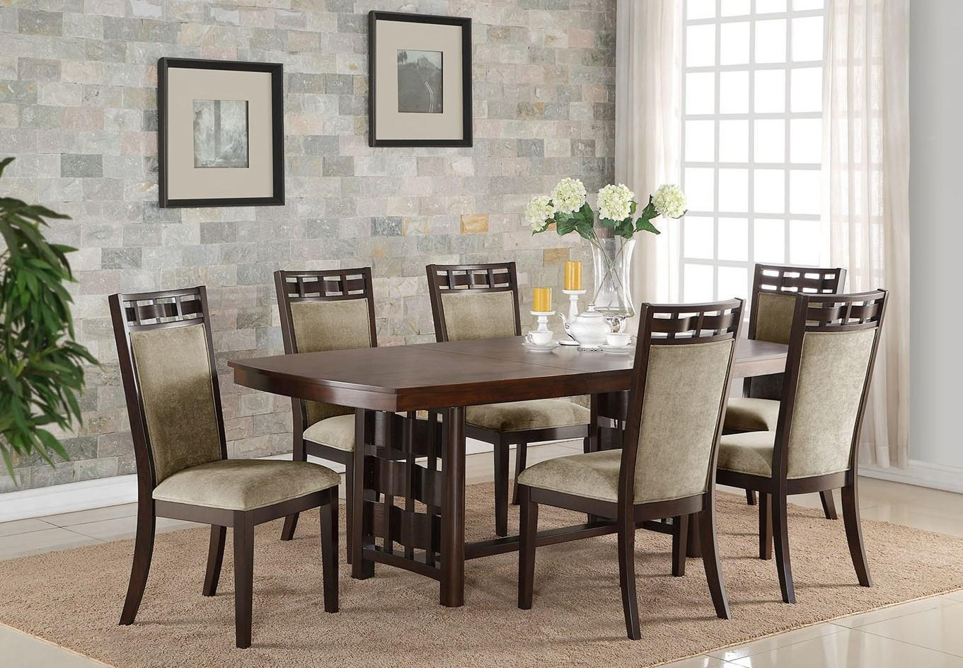Crown Mark 2375 Pryce Contemporary Espresso Finish Dining Table & Chair Set 7Pcs for sale  USA
