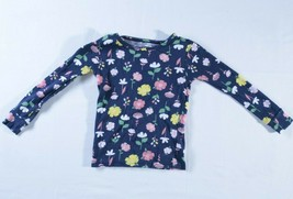 Carters girl shirt 4T blue flower long sleeves crew neck scalloped neck - $9.90