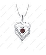 Heart Cut Red Garnet & Diamond 14K White Gold Over Double Heart Pendant ... - $68.79