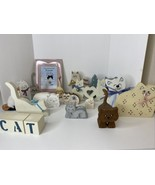 Lot 15 Wooden Cats Decorative + Cat Frame + CAT blocks Decorations Gifts... - $59.35