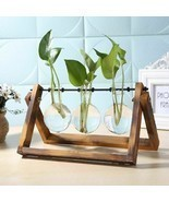 Hanging Flower Pot Table Vase With Wooden Tray Planter Terrarium Home De... - $28.59 CAD+