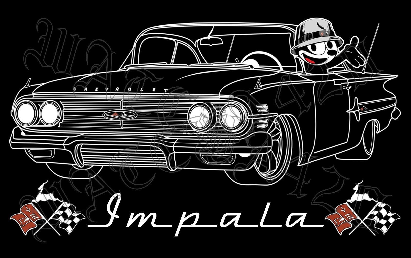 Primary image for 1960 Chevy Impala With Felix The Cat Lowrider Men's T-Shirts