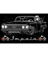 1960 Chevy Impala With Felix The Cat Lowrider Men's T-Shirts - $19.80