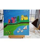 Calm Bay Newfoundland Original Folk Art Painting - $30.00
