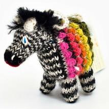 Handknit Alpaca Wool Whimsical Hanging Zebra Ornament Handmade in Peru image 2