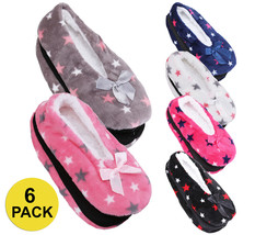 Women's 6 Pack Plush Lined Soft Warm Star Slip On Shoes House Non-Slip Slippers