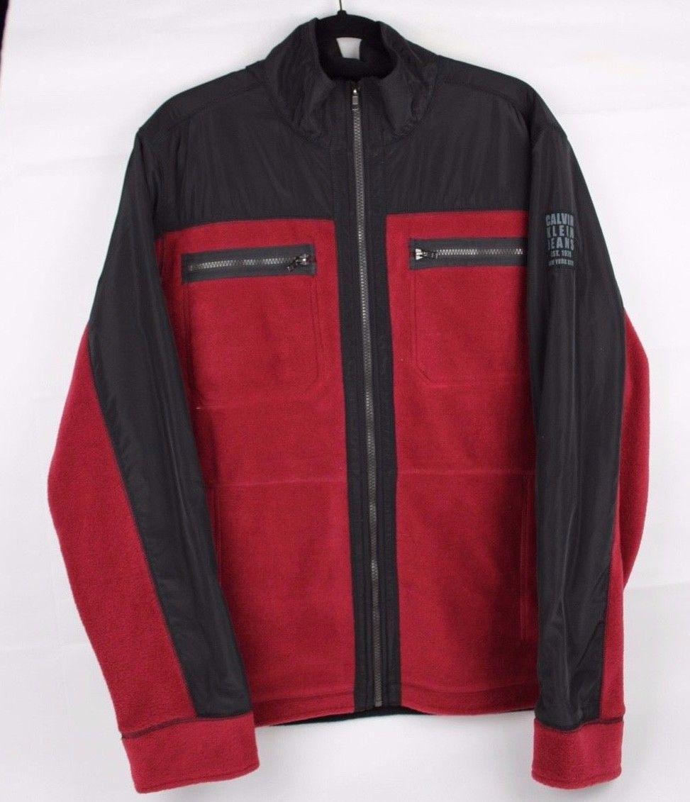 Calvin Klein Jeans men's fleece zip jacket in fire red black long sleeve size L