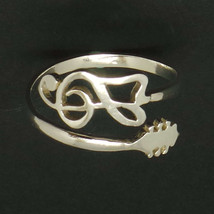 Handmade Sterling Silver Music Note Treble Clef Guitar Ring - 16'' to 24... - $40.00