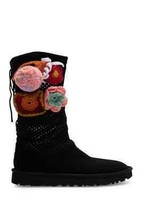 UGG Classic Floral Crochet Genuine Shearling Lined Boot 9M Black NEW - $306.88