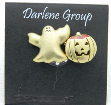 Vintage Halloween Gold Ghost Enamel Pumpkin Darlene Group Pin Brooch NOS - $13.86