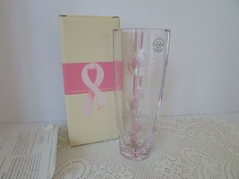 "VTG LENOX CRYSTAL BUD VASE GIFT OF KNOWLEDGE BREAST CANCER 8"" MINT - $24.70"