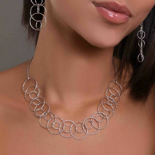 Silver 925 Necklace Rhodium Plated Wheels Machined by Maria Ielpo Made in Italy