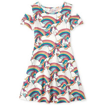 NWT The Childrens Place Unicorn Girls Cold Shoulder Dress 5-6 7-8 10-12 ... - $10.99