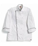 Dickies Grand Master White Chef Coat w/ Black Piping, White, X-Large - $14.84