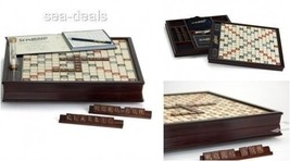 Scrabble Wood Edition Friends Family Rotating Game Board Tile Deluxe Wor... - $147.11
