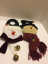 "Wall Decor 2 Santa 16""And Snowman 17"" Hung On Wall Or Door Knob Cute New - $9.49"