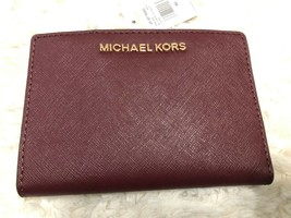 Michael Kors Jet Set Medium Card case Carryall Wallet Merlot Saffiano Le... - £33.90 GBP