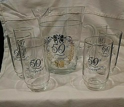 Vintage 50TH Wedding Anniversary Glass Pitcher and 6 Glasses Trimmed In ... - $54.45