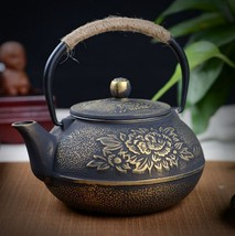 Cast Iron Pot Uncoated Iron Teapot Southern Japan Japanese Peony Big Iro... - $56.80