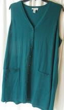 Susan Graver Womens sweater vest Green long vneck sleevless tunic Sz Large - $22.76