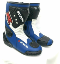 Suzuki Blue Motorbike leather boots CE Approved - $140.00