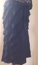 Ralph Lauren Midi Skirt Womens Ruffled Black Label 100% Silk Black USA 8 UK 12 - $97.47