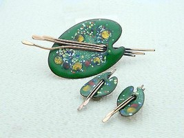VTG MATISSE RENOIR Signed PALETTE Design Enamel Copper Brooch & Earring ... - $99.00