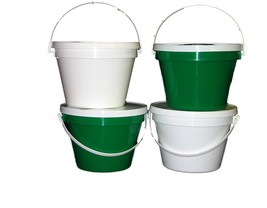 4 One Gallon 2 Each Green White Buckets Lids Pail Lead Free Made in America - $33.38