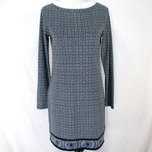 Michael Kors Tunic Dress Sz S Blue White Geometric Long Sleeve Polyester... - $23.99